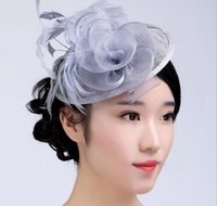 Wholesale Ladies Veiled Hat - Ostrich hair color lady hat Creative Design hat female Bridal Hats veil slap-up party hat bride headdress free shipping