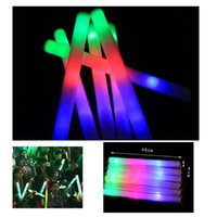 Wholesale Toy Tubas - Wholesale- 10Pcs Lot 2016 new 48cm colorful glow light sticks tuba sponge foam Flash stick Halloween Christmas Concert Party Supplies toys