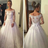 Wholesale boat neck wedding dress black ribbon for sale - Vestidos De Noiva Lace Wedding Dresses Boat Neck Long Sleeve Sweep Train Appliques Ribbons Ball Gown Bridal Dress