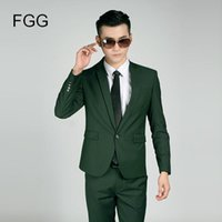 Wholesale Terno Noivo Fit - Wholesale- (Jacket+Pants) Fashion Brand Mens Suits Wedding Groom Twill Single Button Green Smoking Suit Slim Fit Terno Casamento Noivo