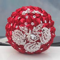 Wholesale artificial diamond flowers - New Style Burgundy Satin Rose Wedding Bouquets With Crystal Diamond Artificial Bridal Bouquet De Mariage Ramos De Novia Custom Made 2018