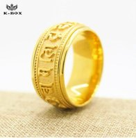 Wholesale mani padme - 10mm Om Mani Padme Hum Rings For Men Women 18K Gold Plated Band Ring Stainless Steel Lucky Jewelry mens band ring