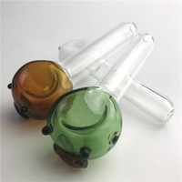 Wholesale Pig Bowl - New Glass Pipes Honeycomb Head Bowl Cheap Hand Tobacco Pipes with Green Brown Wihte Lovely Pig Style 3.7 Inch Smoking Pipe