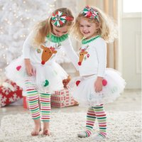 Wholesale-BRWCF 2017 New Baby Girl Set de roupas Set de Natal Lace Tutu Dress + Color Strip pants 2pcs Set Baby First Birthday Costumes