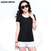 Wholesale Solid Colored Shirts - Wholesale- Women Casual T Shirt Tops 2016 Summer All-Match Female Candy Colored Tees Shirts Women's Short-Sleeved Cotton T-Shirt