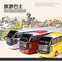 Wholesale Diecast Buses - 1:32 Scale Alloy Metal Diecast Car Model For Travelling Open Tour Tourist Bus Coaches Collection Pull Back Toys With Sound&Lights