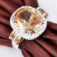 Wholesale Saints Rings - Saint Valentine's Day Gift Flower Fashion Rings For Women Natural Champagne Zircon Rings 2pcs R0316