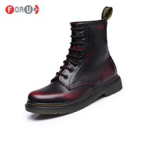 Wholesale High Motorcycle Boots - Wholesale-Top quality Dr Genuine Leather Men Women Martin Boots High Top Motorcycle Autumn Winter shoes Lover snow Boots
