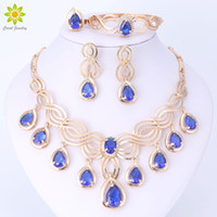 Wholesale Dresses Engagements - Luxury Dubai Jewelry Sets For Women 18K Gold Plated Crystal Necklace Earrings Gift Party Dress Accessories
