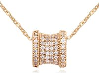 Wholesale rose gold star necklace - Drum Shape Hollow Star Flowers Slide CZ Diamond Paved Two Sides Pendant Necklaces Women 18K Rose gold Plated Jewelry UN0107