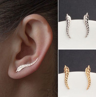 Pair Fashion Gold / Silver Plated Alloy Leaf U-shaped Ear Clips Stud Earrings Jewelry For Girls / Ladies