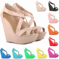 Wholesale Women Size 11 Wedge Shoes - Sapato Feminino New Elegant Ladies Platform Peep Toe High Heels Wedge Shoes Sandals Women Size Us 4-11 D0096