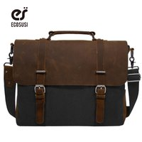 "Wholesale Leather Notebooks For Men - Wholesale- ECOSUSI New Design Canvas & Leather Men Classic Briefcase Handbag Shoulder Bussiness Zipper Notebook OL Bags For 15"" Laptop"