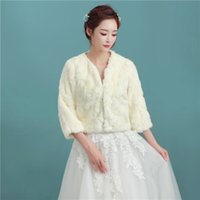 Wholesale champagne fur bolero resale online - New Arrival Sleeve Champagne Faux Fur Wedding Bolero Elegant Winter Bridal Jacket for Wedding Party P015