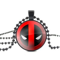 Wholesale Glass Cabochon Beads - Wholesale-Deadpool Red and Black Glass Cabochon Pendant Necklace for Women Fashion Jewelry Bead Long Chain Necklace Men Jewelry