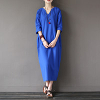 Wholesale Japan Women Dress Summer - Wholesale- Solid Blue Red Linen Cotton Plus size Women Long Dress Japan Brief Loose Casual Summer Dress Zen Vintage Linen Robe femme A021