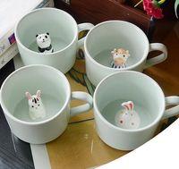 ingrosso tazza in ceramica animale-Creativo tazza di latte in ceramica animali simpatico cartone animato tazza di caffè tridimensionale resistente al calore tazza di Celadon bel regalo