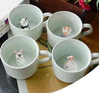 xícaras de café de animais venda por atacado-Criativo caneca de leite de cerâmica animais bonito dos desenhos animados tridimensional copo de café resistente ao calor Celadon copo belo presente
