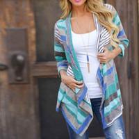 ingrosso magliette top boho-Boho Womens Long Sleeve Cardigan Outwear Knitted Jacket Coat Top Maglione allentato Primavera Estate Spedizione gratuita