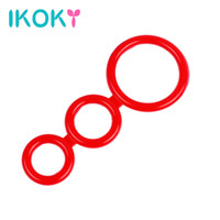 Wholesale three cock rings - Wholesale- IKOKY Silicone Cock Rings Delay Ejaculation Lasting Sex Toys for Men Male Penis Rings Three Cock Cages Male Chastity Device
