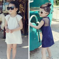 Wholesale Korean Silk Short Dress - Summer Kids Clothing Korean New Wholesale New baby Girls Princess Dresses long T shirt Lace Toddler Fashion Dresses Infant Shirt Dress A243
