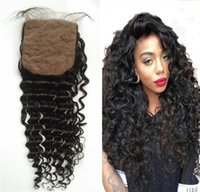 Wholesale Indian Curly Silk Base Closure - Malaysian Human Hair Deep Wave Curly Silk Base Closure Natural Color Virgin Hair No Tangle FDSHINE HAIR