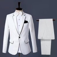 Wholesale Slim Fit Suits For Prom - Handsome Men Suits Groomsmen Tuxedos Slim Fit Prom Party Suits Custom Made Bespoke Wedding Suits For Man