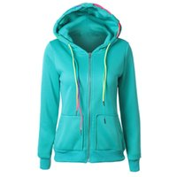 Vente en gros-Spécial Design Mode Womens Hoodie Sweatshirt Manteau à capuche Zipper Jacket Candy couleur poche Slim Coloré Ceinture Fille Casaco Nov3