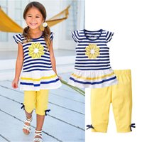 Wholesale T Shirts For Boys Wears - Wholesale- Toddler Girls Clothes Kids Stripe Print Flower T-shirt+Pants With Bow Beach Wear Suit For Teens Girl Children Clothing Set CF104