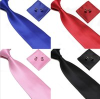 Wholesale Steel Neck Cuff - Men's Tie Cuff Links Handkerchief Set 100% SILK New Christmas Gift Free shipping LLFA