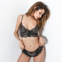 Wholesale Panties Adjust - Fashion lace sexy lingerie thin transparent bra set underwear women set perspectivity bras and panties