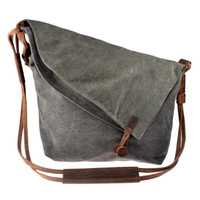 verrückte pferdetaschen großhandel-Großhandel-Frauen Tasche Cross Body Vintage Casual Crazy Horse Leder Canvas Umhängetaschen Messenger Shouder Bag Damen Bolsa Feminina Girls