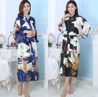 Wholesale Silk Kimono Men - Men and Women's black fairy Silk Kimono Robe Pajamas Nightgown Sleepwea,size S-3XL