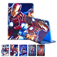 Super Hero Series Homem-Aranha Superman Iron Man Cartoon PU Auto dormir acordar Kickstand Case para iPad Mini 4 7.9 inch OPP BAG