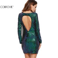 COLROVE Womens Sexy Kleider Party Nacht Club Kleid Bodycon Sexy Kleid Club Wear Schillernde Grün Open Back Sequin Bodycon Kleid 17309