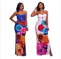 Wholesale Elegant Strapless Maxi Dresses - 2018 Summer Dashiki maxi dress Traditional African Print long Dress Dashiki Elastic elegant Bodycon vintage Dresses