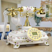 Wholesale rustic bucket resale online - Beautiful landline phones mansion Rustic antique European telephone Home fashion relief living room Vintage painted wireless