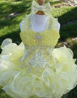 Wholesale Cupcake Collars Ivory - Halter bow yellow beaded necklace Ruffle organza ball gown cupcake toddler little girls pageant dresses flower girls for weddings glitz