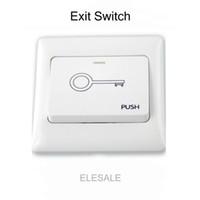 erişim kontrol düğmesi toptan satış-Elektrikli manyetik Kilit Kapı Access Control For Toptan-86 * 86cm Beyaz Plastik Çık Basmalı Açma Düğmesi Anahtarı