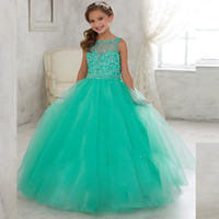Wholesale Jade Silver Wedding Dresses - Jade Mint Little Girls Pageant Dresses For Teens Sheer Illusion Tulle Neck Sequin Beaded Kids Flower Girls Birthday Princess Gowns