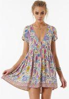 Wholesale Beach Birds - Purple love-birds floral print mini dress V-neck short sleeve Boho dress 2017 new summer bohemian beach Casual women holiday dresses