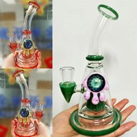 Wholesale Custom Bongs - 100% Real Photo Green Coral Glass Bongs Water Pipes Thick Glass Pipes Handmade Hookahs Safe Shipping smoking water Pipes custom made Hookahs