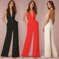 Wholesale Sexy Ladies Night Pants - Halter Neck Elegant Fashion Sexy Jumpsuits Ladies Loose Slim Casual Party Overalls Long Pants Women Sleeveless Night Club Romper 170724