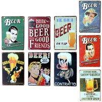 Vente en gros - Affiche murale 20 * 30CM Autocollants en métal Tissu en étain Pub Club Gallery Affiche en plastique Vintage Plaque Decor Plate New Kinds of Beer Theme