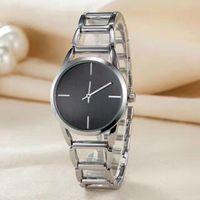 Wholesale Top Branded Ladies Watches - Fashion ladies watches top brand luxury Ultra thin Cool black watch women Silver bracelet gorgeous quartz wristwatch Female clock