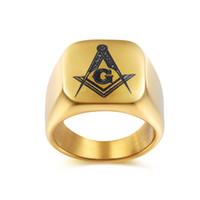 Wholesale Mason Rings Men - Fashion New Silver Men's Rings Jewelry Freemasonry Free Mason Masonic Stainless Steel Finger Ring for men 019