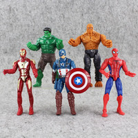 Wholesale Good Things - 5pcs marvel Superheroes Iron Man The Thing Hulk Captain America Spiderman PVC Action Figure Toy