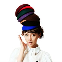 Wholesale Top Hat Cocktail - Pure Color Circle Wool Felt Pillbox Hat Millinery Teardrop Fascinator Base Fasten Way Rope Comb Cocktail Party A048