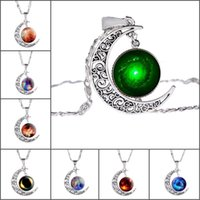 Wholesale Star Necklaces For Women - 2017 new fashion jewelry selling interstellar crossing items decorated star moon gem pendant necklace wholesale collar for women jewelry