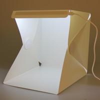 Wholesale Top Photography Backdrops - Portable Light Room Photo Box with LED Light Mini Studio Acrylic Softbox Photography Table Tops Tent with Backdrops Kit 5 Sizes